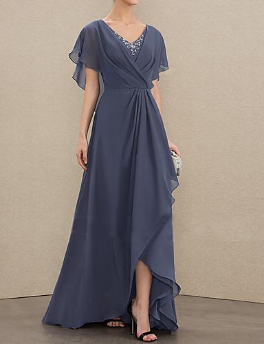 voordelige Maxi-jurken-Dames Elegant Slank Wijd uitlopend Jurk - Effen V-hals Asymmetrisch