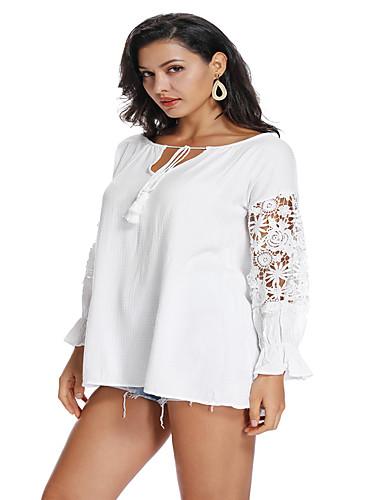 abordables Hauts pour Femmes-Tee-shirt Femme, Galaxie Brodée / Garniture en dentelle Chinoiserie / Elégant Ample Marguerite Blanche