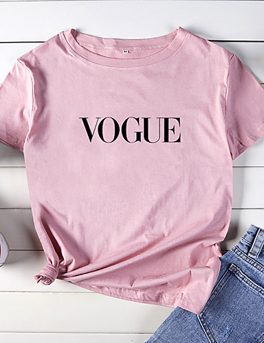 abordables Hauts pour Femmes-Tee-shirt Femme, Animal / Bande dessinée / Lettre - Coton Imprimé Basique Ample Violet