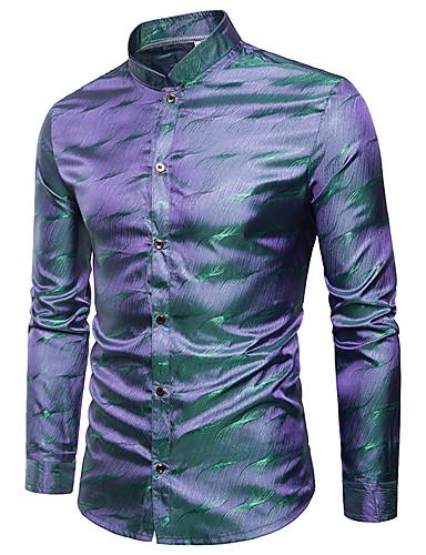 voordelige Herenoverhemden-Heren Elegant Jacquard Overhemd Regenboog Opstaande boord blauw / Lange mouw