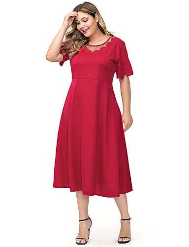 voordelige Grote maten jurken-Dames Standaard A-lijn Jurk - Effen, Patchwork Midi