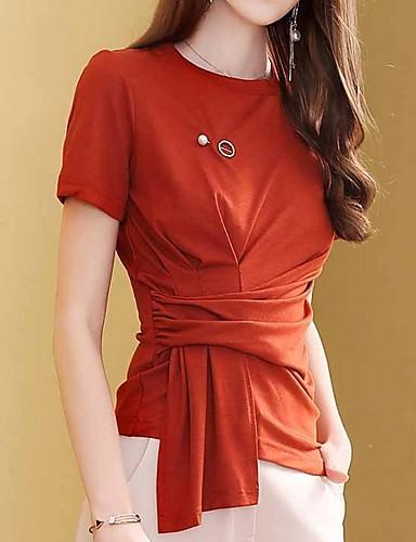 Kadın's Tişört Solid Turuncu