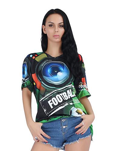billige Dametopper-T-skjorte Dame - 3D Grunnleggende Grønn US10 / UK14 / EU42