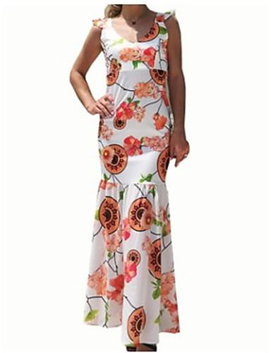 voordelige Maxi-jurken-Dames Katoen Slank Bodycon Jurk V-hals Maxi Hoge taille / Hoge taille