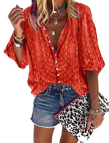 povoljno Majica-Veći konfekcijski brojevi Majica Žene - Boho Kauzalni / Plus veličine Na točkice Kragna košulje Kolaž / Print Sive boje