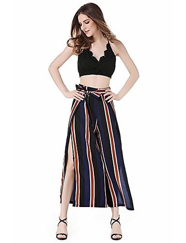 billige Tights til damer-Dame Bohem Løstsittende Bred Bukseben Bukser - Stripet / Multi-farge BLå & Hvit / Svart & Rød, Stripe Regnbue XS S M