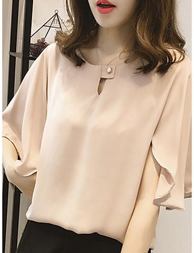 Kadın's Salaş - Bluz Solid Temel Büyük Bedenler Beyaz