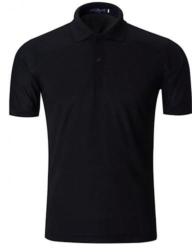 voordelige Herenpolo's-Heren EU / VS maat - Polo Effen Overhemdkraag Zwart / Korte mouw