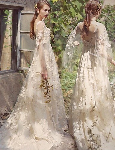 billige Bryllupskjoler 2019-A-linje V-hals Svøpeslep Blonder / Tyll Made-To-Measure Brudekjoler med av LAN TING Express