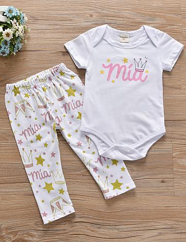 voordelige Uitverkoop-Baby Meisjes Informeel / Actief Print Print Korte mouw Lang Kledingset Wit