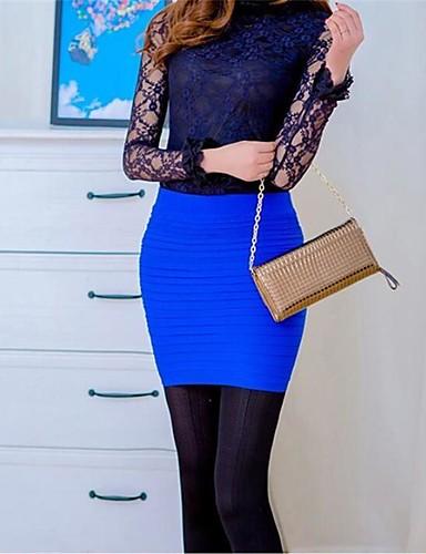 abordables Jupes-Femme Basique Mini Moulante Jupes - Couleur Pleine Plissé Fuchsia Vin Bleu Roi Taille unique / Slim