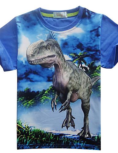 voordelige Uitverkoop-Kinderen Jongens Standaard Dinosaurus Print Print Korte mouw Katoen T-shirt blauw