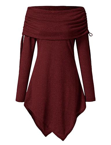 abordables Hauts pour Femme-Tee-shirt Femme, Couleur Pleine Mosaïque Elégant Epaules Dénudées / Drapé Noir