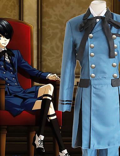 ieftine Anime Costume-Inspirat de Black Butler Ciel Phantomhive Anime Costume Cosplay Japoneză Costume Cosplay Mată Manșon Lung Cravată / Cămașă / Vârf Pentru Bărbați