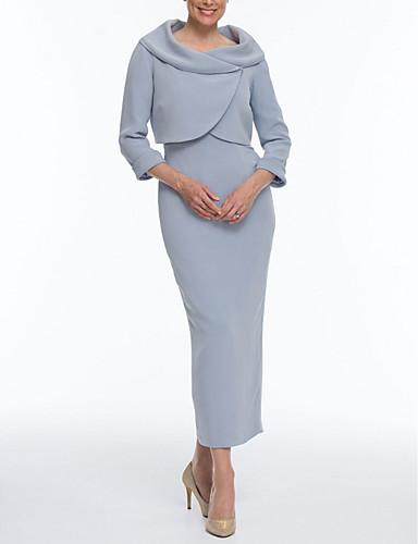 voordelige Wrap Dresses-Strak / kolom / Tweedelig Bateau Neck Tot de enkel Polyester Bruidsmoederjurken met Ruches door LAN TING Express / Wrap inbegrepen