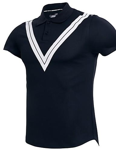 voordelige Herenpolo's-Heren EU / VS maat - Polo Gestreept Overhemdkraag Zwart / Korte mouw