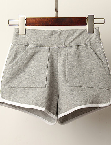 abordables Pantalons Femme-Femme Sportif Ample Short Pantalon - Rayé Gris Vert Claire Rose Poudré M L XL