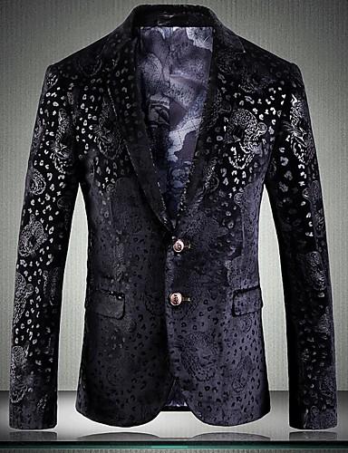 voordelige Uitverkoop-Heren Grote maten Blazer Ingesneden revers Polyester Zwart / Slank