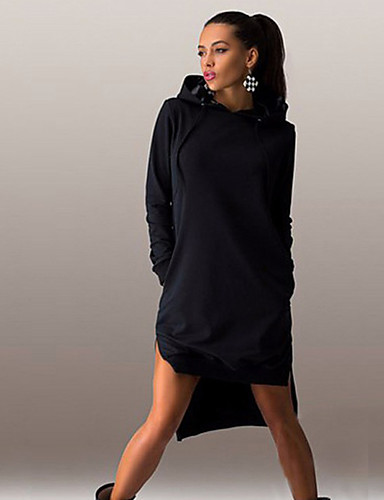 abordables Robes Femme-Femme Basique Au dessus du genou Courte Robe Couleur Pleine Noir Gris Clair Bleu S M L Manches Longues