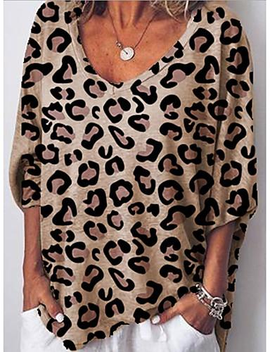 billige Dametopper-Bluse Dame - Leopard Hvit