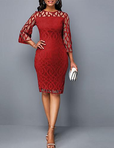 お買い得  レディースドレス-女性用 ボディコン シース ドレス ソリッド 膝丈