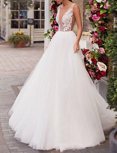 abordables Robes de Mariée 2019-Trapèze Col en V Traîne Brosse Dentelle / Tulle Robes de mariée sur mesure avec Billes par LAN TING Express