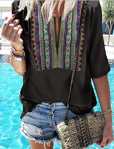 povoljno Ženske majice-Majica s rukavima Žene - Boho Dnevno Geometrijski oblici Crn