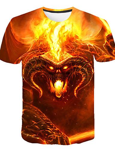 voordelige Heren T-shirts & tanktops-Heren Street chic / overdreven Print T-shirt 3D / dier / Doodskoppen Oranje