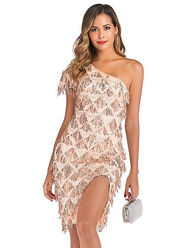 Недорогие Платья-Жен. Изысканный Элегантный стиль Облегающий силуэт Оболочка Платье - Однотонный, Пайетки Бусины С кисточками Ассиметричное
