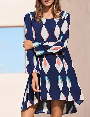 povoljno Autumn New Outfits-Žene Osnovni Korice Haljina - Print, Geometrijski oblici Iznad koljena
