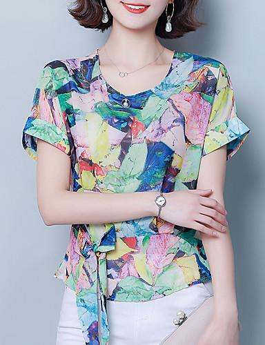 billige Topper til damer-T-skjorte Dame - Geometrisk, Blondér / Trykt mønster Vintage / Gatemote Regnbue