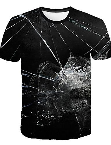 Erkek Tişört Desen, Zıt Renkli / 3D / Grafik Sokak Şıklığı / Abartılı Siyah