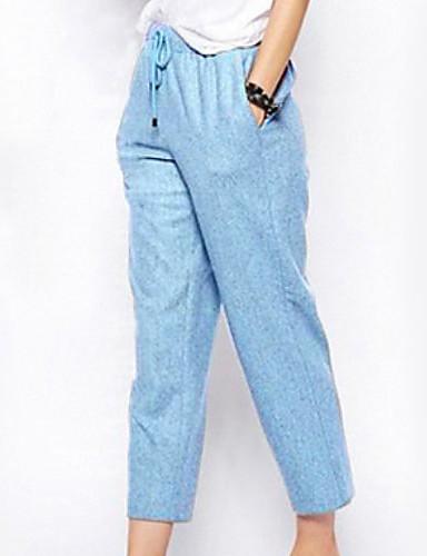 abordables Pantalons Femme-Femme Basique Chino Pantalon - Couleur Pleine Noir Bleu clair Rose Claire M L XL