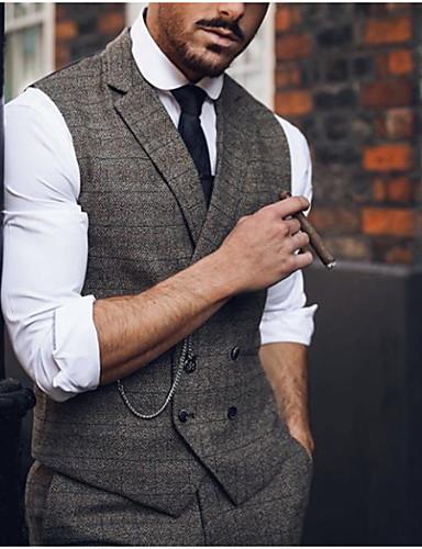 cheap 8/14-Men's Vest, Plaid Notch Lapel Polyester Brown US36 / UK36 / EU44 / US38 / UK38 / EU46 / US40 / UK40 / EU48
