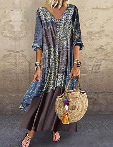 hesapli Print Dresses-Kadın's Büyük Bedenler Pamuklu Salaş Şifon Elbise Desen V Yaka Maksi