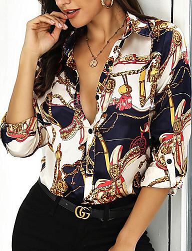 economico Camicie da donna-Camicia Per donna Fantasia geometrica Blu