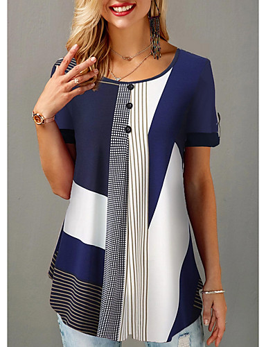 povoljno Ženske majice-Majica s rukavima Žene Dnevno Color block Plava