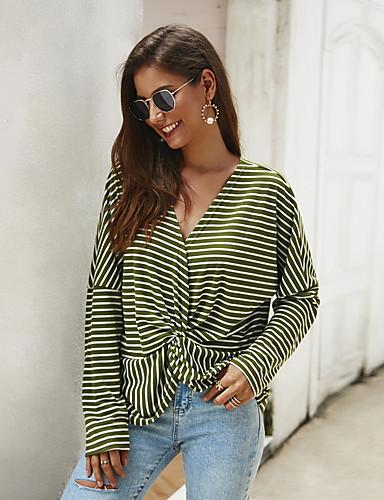 billige Topper til damer-Bluse Dame - Stripet, Trykt mønster Grunnleggende Militærgrønn