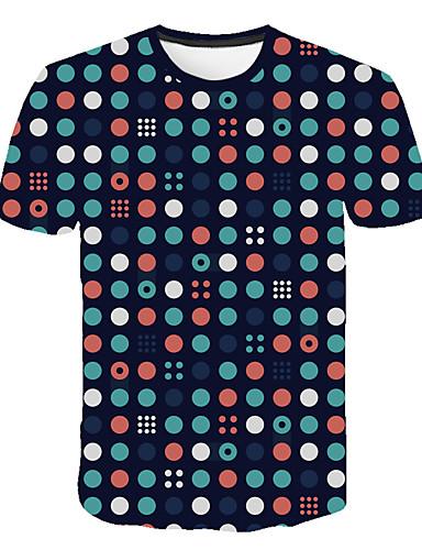 voordelige Heren T-shirts & tanktops-Heren Street chic / overdreven Print T-shirt Polka dot / 3D / Grafisch Regenboog