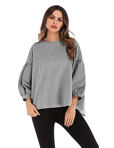 abordables Hauts pour Femme-Tee-shirt Femme, Damier Mosaïque Chic de Rue / Elégant Noir