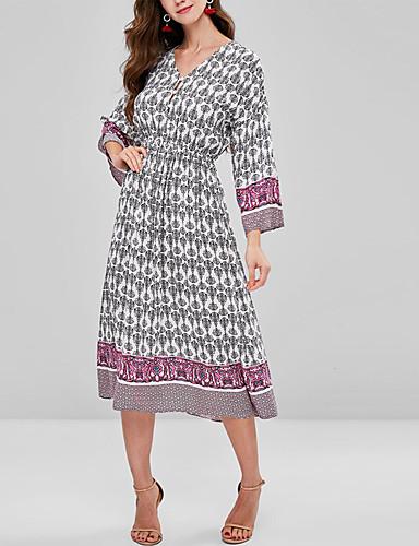 abordables Robes Femme-Femme Basique Mi-long Gaine Robe Géométrique Gris S M L Manches Longues
