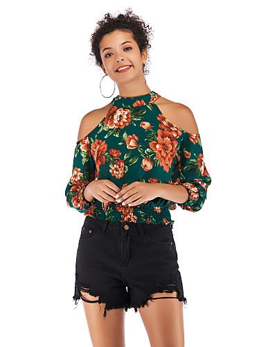 billige Dametopper-Skjorte Dame - Geometrisk, Trykt mønster Grunnleggende / Gatemote Grønn