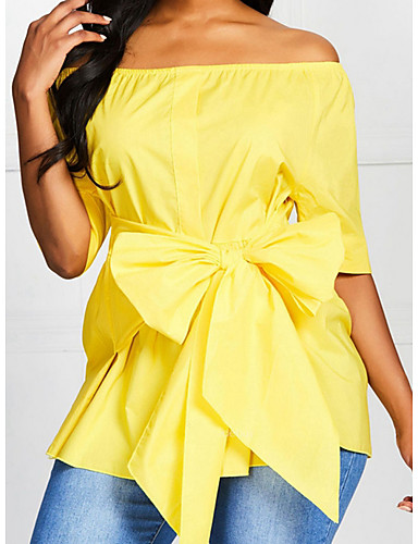 Women's Daily Wear Shirt - Solid Colored Yellow