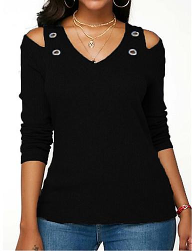 hesapli Bluz-Kadın's Bluz Solid Temel Siyah