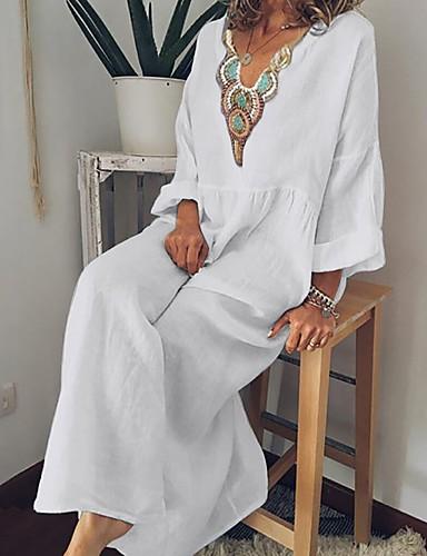abordables Robes Femme-Femme Maxi Courte Robe Géométrique Noir Bleu clair Blanche S M L Manches Longues