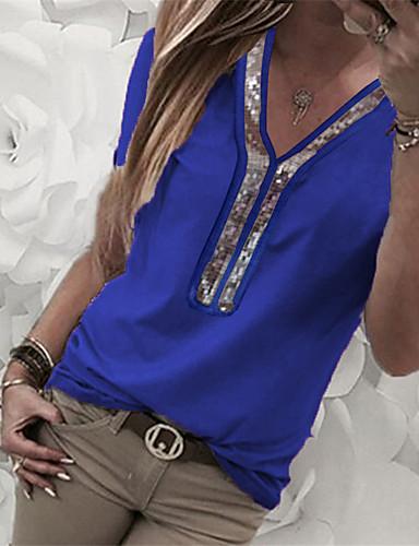 Kadın's Tişört Payetler / Kırk Yama, Solid / Zıt Renkli Sokak Şıklığı / Zarif Siyah