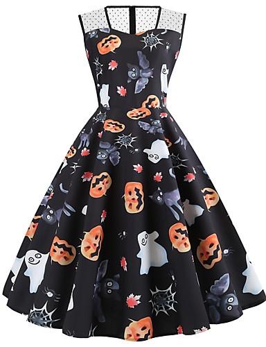 abordables Robes Femme-Femme Rétro Vintage Mi-long Trapèze Robe - Maille Mosaïque Imprimé, Animal Noir S M L Sans Manches