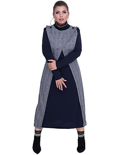 voordelige Grote maten jurken-Dames Street chic Elegant Recht Schede Jurk - Kleurenblok Blokken, Patchwork Maxi Zwart & Wit