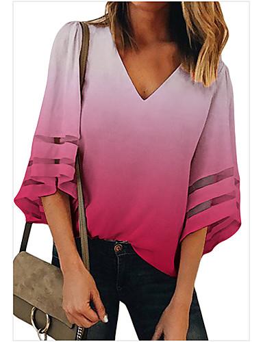 Kadın's Gömlek Kırk Yama, Zıt Renkli Temel Mor