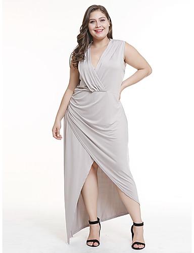 voordelige Grote maten jurken-Dames Elegant Wijd uitlopend Jurk - Effen Asymmetrisch